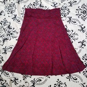Lularoe red midi flare skirt size medium